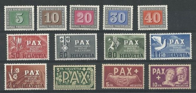 Switzerland 1945 - Pax Full Series - Unificato 405/417