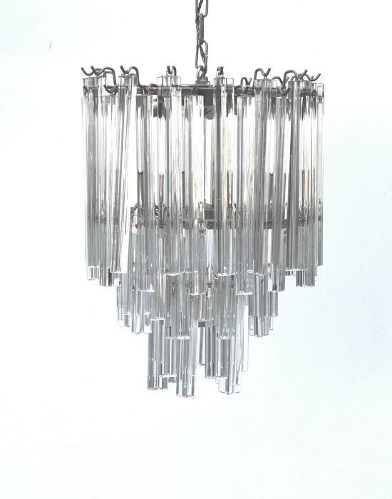 Murano (not attributed) - Chandelier with triangular glass pieces