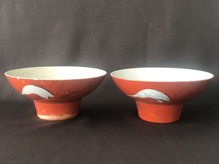 Two bowls with coral red fond - China - ca. 1920