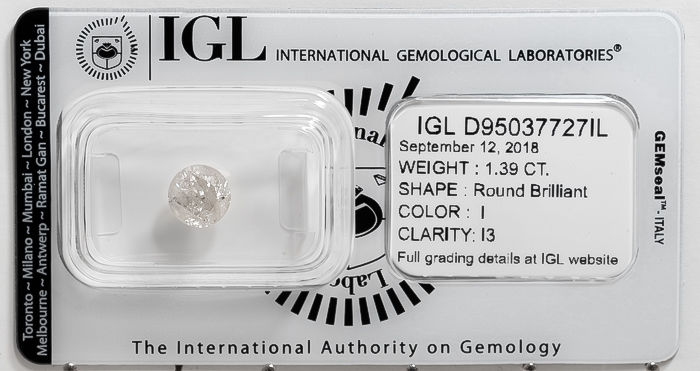 1.39 CT Round Brilliant Cut  I / I3   *** No Reserve ***