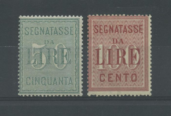 Italy Kingdom 1884 - Taxes Re Umberto I Lire 50 and Lire 100 - Sassone N. S.2301