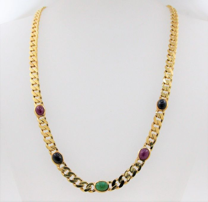 14 kt yellow gold solid luxury curb chain with rubies, sapphire and emerald totalling 6.00 ct - size: 50 cm