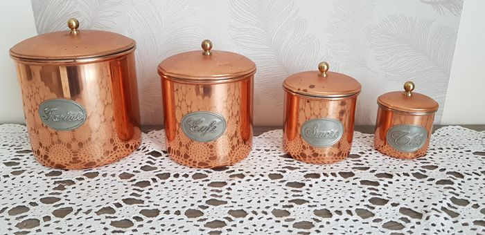 Lot of 4 tinned copper spice boxes