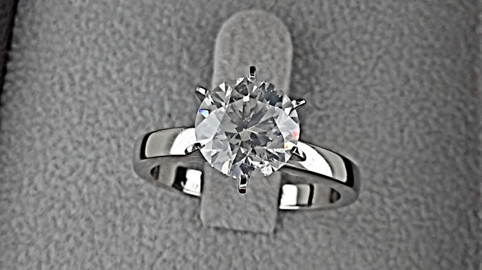 AIG 2.23 carat F VS2-SI1 Round Enhanced Diamond Engagement Ring in Solid  White 9c398f4dba
