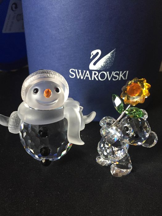 Swarovski Snowman and Kris Bear
