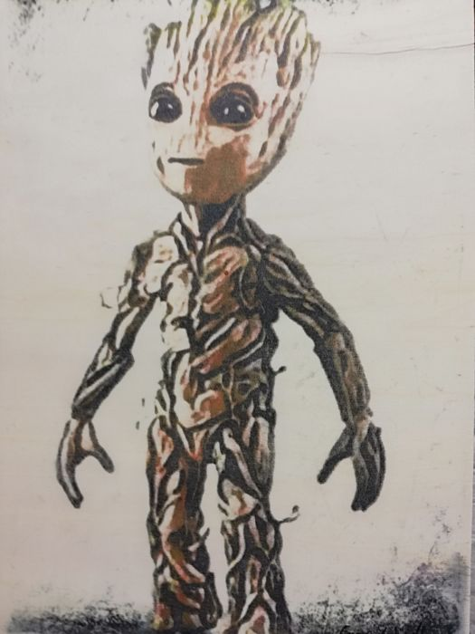 Baby Groot Original Artwork On A Wooden Plate Size 298 X 42 Cm First Edition 2018 Catawiki