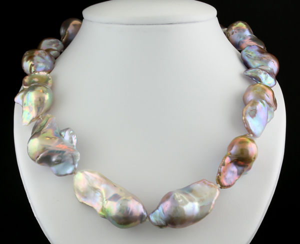 """Opulent cultured freshwater pearl necklace, baroque """"monster pearls"""", multicoloured, iridescent, size of pearls up to approx.  44 x 18 x 17 mm ---No Reserve Price---"""