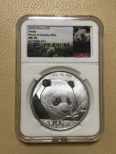 China - 10 Yuan 2018 'Panda' - 30 g. Ag 999 -NGC slab MS 70 - Plata