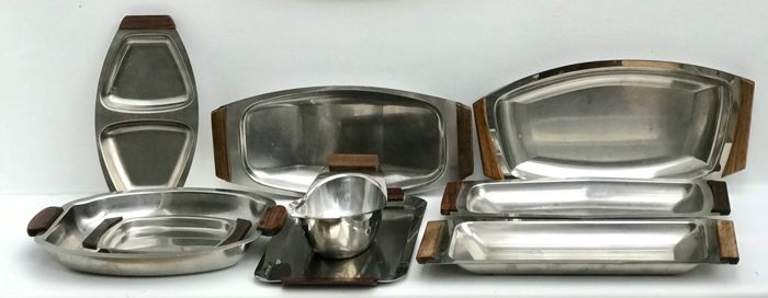 Scandinavian MId Century 9 pieces rosewood and Stainless steel.