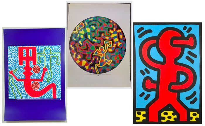 Keith Haring - 3 graphics limited - Monkey Puzzle - Untitled $ (1987) -Untitled (1984)