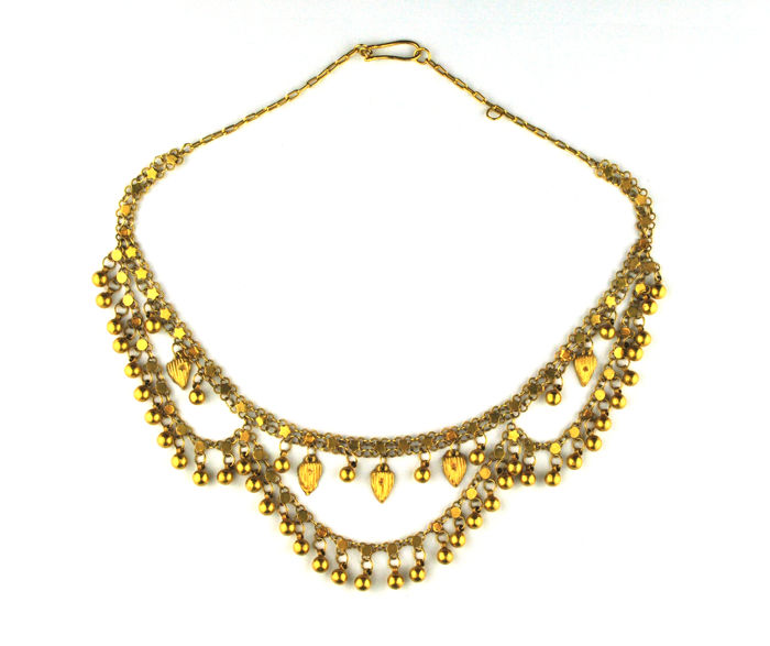 Exclusive Authentic Antique Early 1900's Ottoman Necklace, Delicate handmade 21 karat Gold