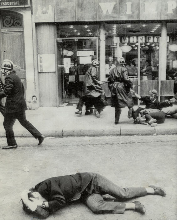 Guy Kopelowicz (XX)/Associated Press - Demonstrator Lies in Street, Paris Protests, 1968