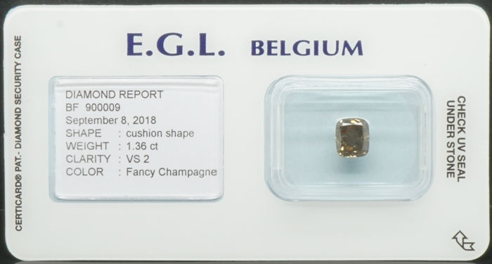 1.36 Cts Certified Natural Fancy Champagne Diamond  -No Reserve