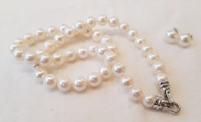 9x10mm Freshwater Pearlset containing necklace and earstuds with silver clasp and silver backfindings - No Reserve Price