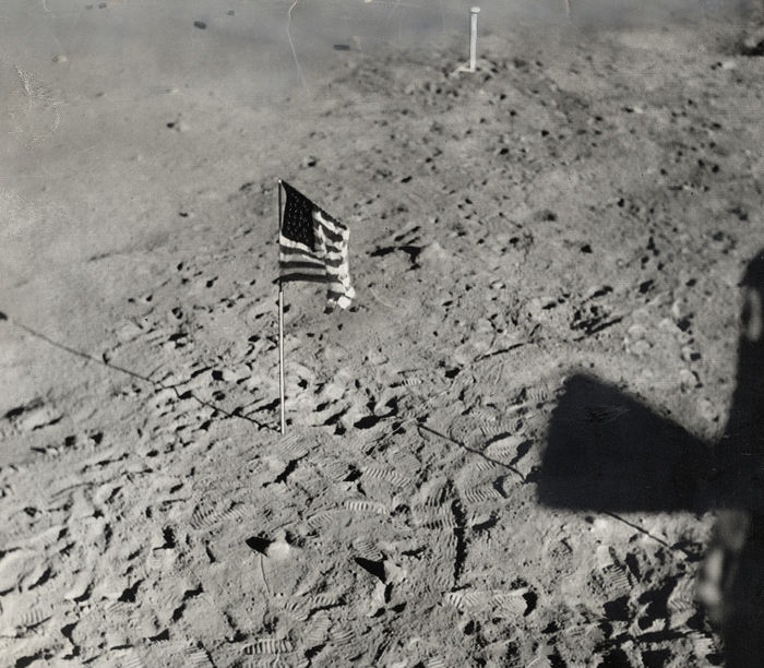 Unknown/NASA - U.S. Flag, Tranquility Base, Apollo 11 Mission