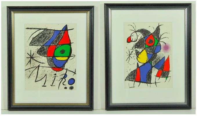 Joan Miró - Two lighographs. Peintures, Gouaches, Dessins