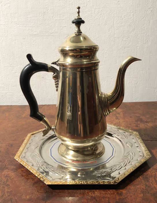 Silver Tray Coffee Table Decorating Ideas: Georgian Silver Coffee Pot & Silver/gold Plated Tray By M