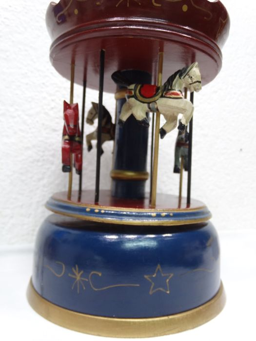 Steady Vintage Brass Carousel Horse On A Marble Base Great Condition. Other Antique Decorative Arts