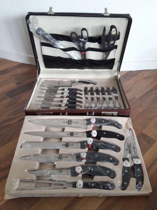 EIURO Gourmet Solingen - Quality knife set (12 pieces) & steak cutlery (12 pieces) - Handmade blades - in original case - All pieces in original protective plastic sleeves