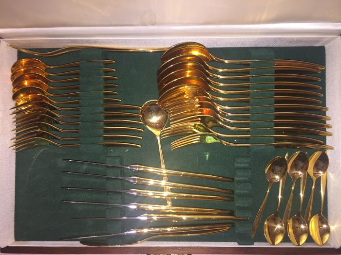 WMF dining and coffee cutlery gold-plated 40 pieces with cutlery box