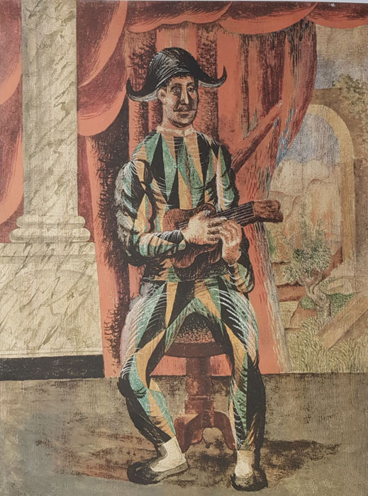 Pablo Picasso (after) - Harlekin with Guitar