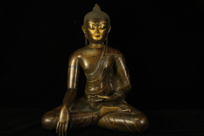 A bronze figure of Sakyamuni buddha - Tibet - late 20th century