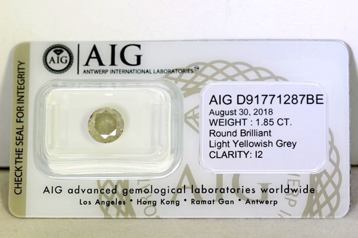 Diamante - 1.85 ct - Diamante Brillante Redondo - Gris - I2 - No reserve price