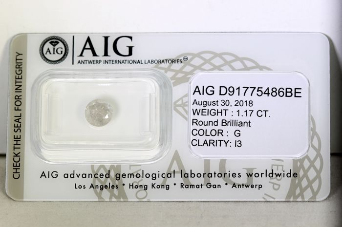 AIG Antwerp Sealed Diamond - 1.17 ct - Colour: G - Clarity: I3