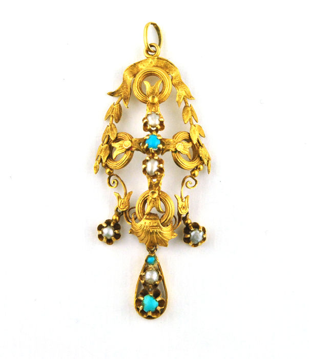 Authentic Antique 19th Century - - 18 kt. Yellow gold - Pendant Turquoise - Pearl