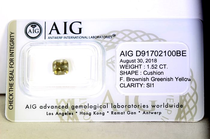 AIG Sealed Diamant - 1.52 ct - Fancy Brownish Greenish Yellow - SI1