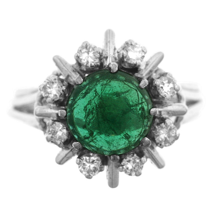 Cabuchon-cut Emerald and Diamond Ladies' Entourage' Ring, as new.