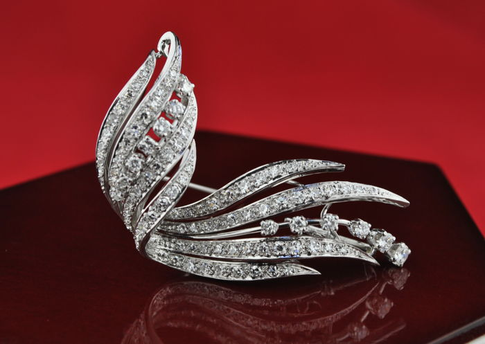 Antique  - 950 Platina - Broche Diamant