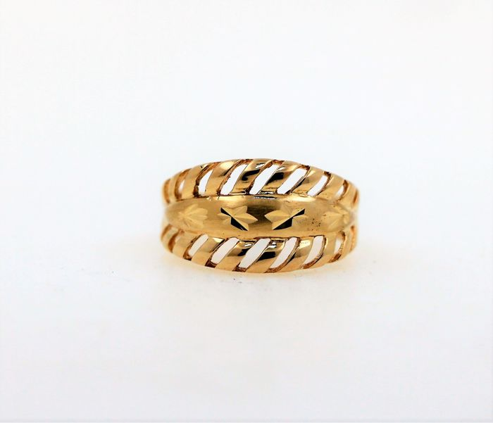 14 kt yellow gold ladies' ring - size: 57 EU - free size adjustment