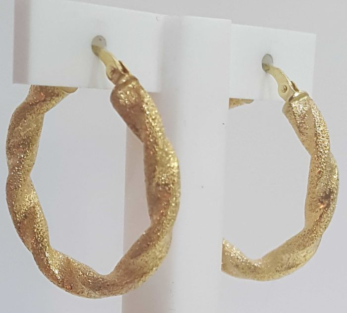 Earrings with diamond finish in 18 kt gold - 3.50 g