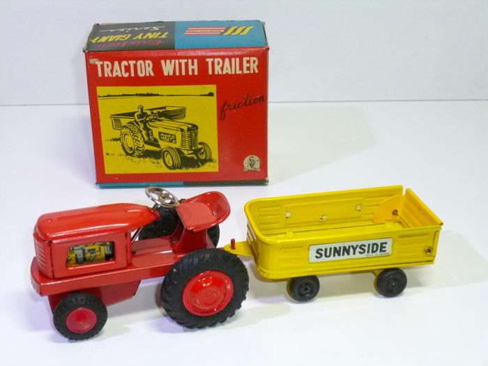 SSS Toys Japan 1960s Tin TRACTOR With TRAILER In Original Box Tiny Giant Series