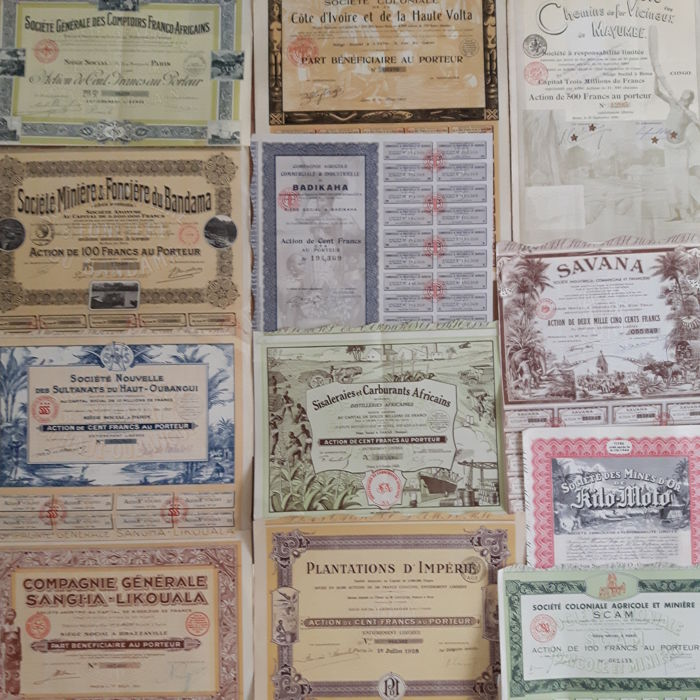 Collection of 12 original African Shares and Bonds (including tribal scenes) , 1898-1952