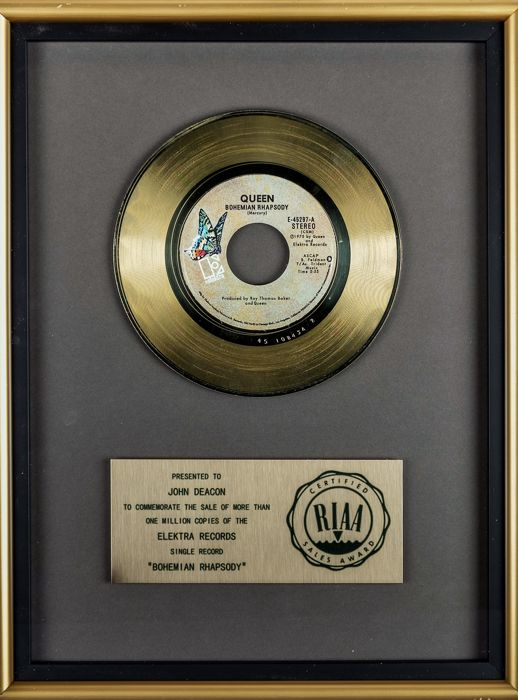 Queen - Bohemian Rhapsody - RIAA Gold '45 award - Presented To John Deacon