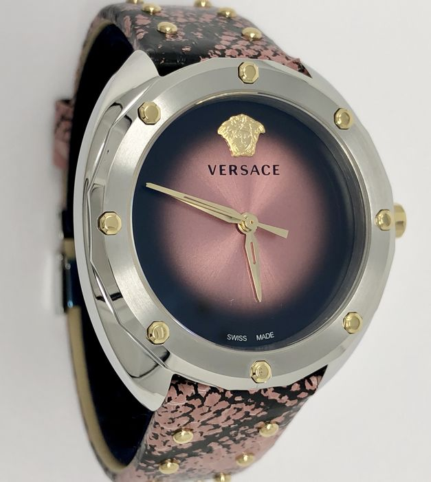 Versace - Pink Shadov  Snake Pattern Leather Strap Swiss made  - VEBM00818 - Women - NEW