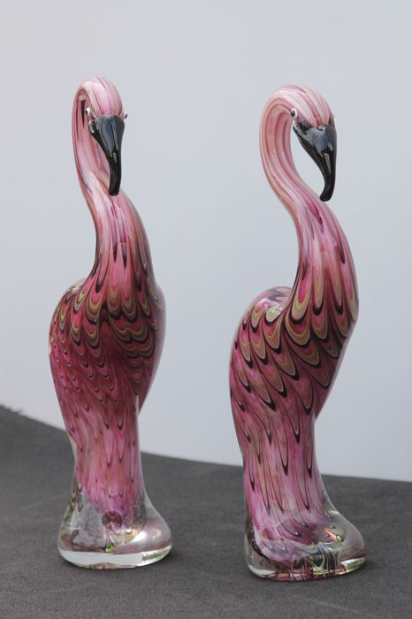 Archimede Seguso - set of 2 pink flamingos in the Murano style - 2