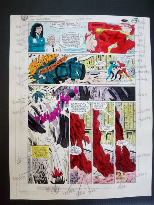 flash special - Original hand coloured / inked page with corection - anders - (2000)