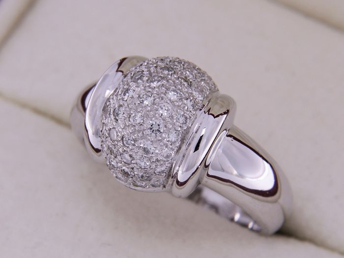 18 kt white gold jewellery ring with diamonds - Size: 53
