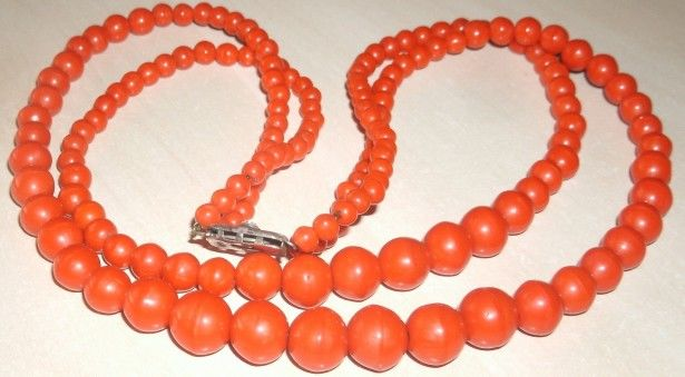 1950s Vintage necklace made of 2 strands of Mediterranean Red Coral beads with a  silver clasp