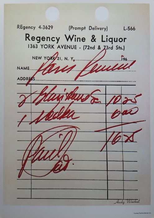 Andy Warhol - Regency wine and liquor Receipt - 1974