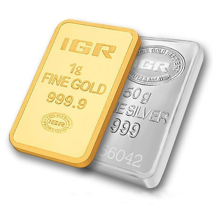 1 g (999,9 Gold) + 50 g (999 Silver) - Mix Lot - IGR - Seal + certificat