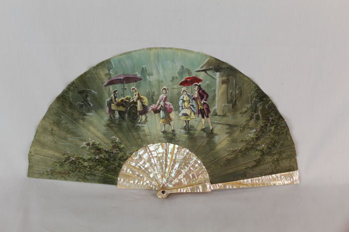 Fan - Hand fan, hand painted and signed - Parelmoer