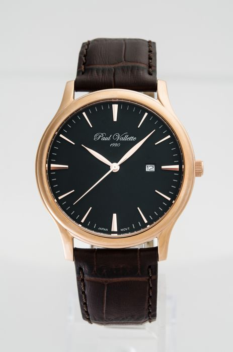 Paul Vallette  - Tradition Pink Gold Plate men's watch - PV150212-RG-05 No Reserve Price - Herren - 2011-heute