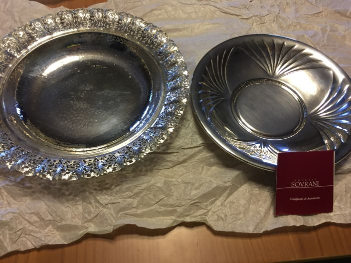 Bowl - Pair of 2 - Silver - Italy - 1950-1999