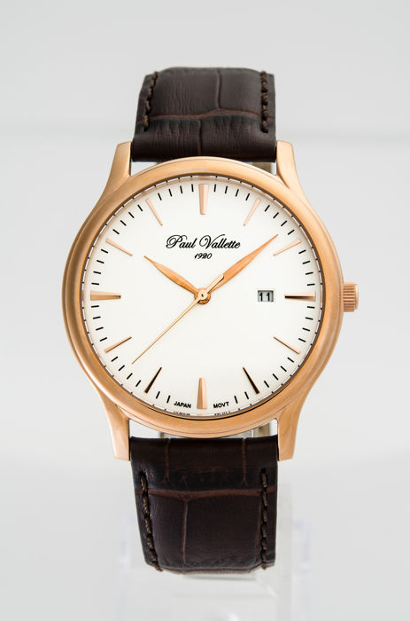 Paul Vallette  - Tradition Pink Gold Plate men's watch - PV150212-RG-03 - Hombre - 2011 - actualidad