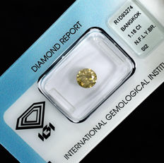 Natural Fancy Light Yellowish Brown Diamond - 1.18 ct, NO RESERVE PRICE