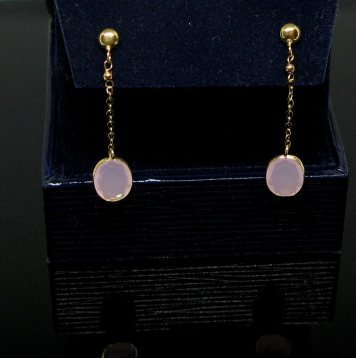 No reserve price -Yellow solid gold 18 kt pending earrings with 2 pink quartz oval-faceted cut tot 2,10 tot.